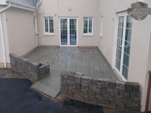Limestone Patio with Connemara Wall in Limerick City