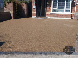 Resin Bound Driveway with Brick Border and Step in Celbridge, Co. Kildare